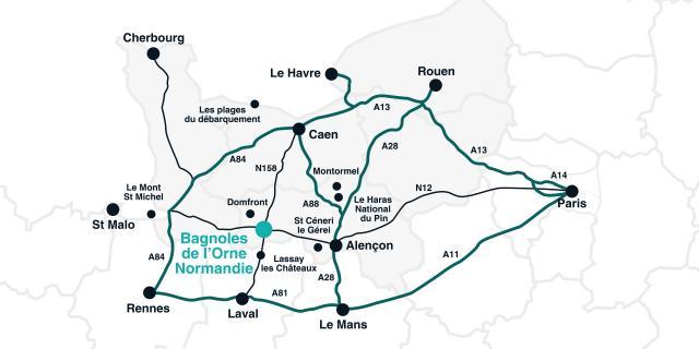 Bagnoles Orne Plan Comment Venir Itineraires Route Autoroute Chemin Normandie